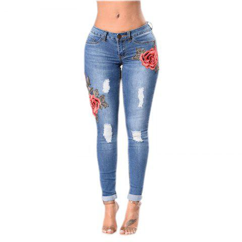 Sale 2018 Spring New Style Broken Hole Embroidered Small Leg Stretch Jeans