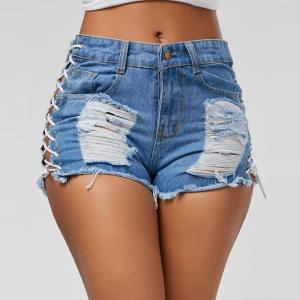 Hot Style Broken Hole Denim Shorts -