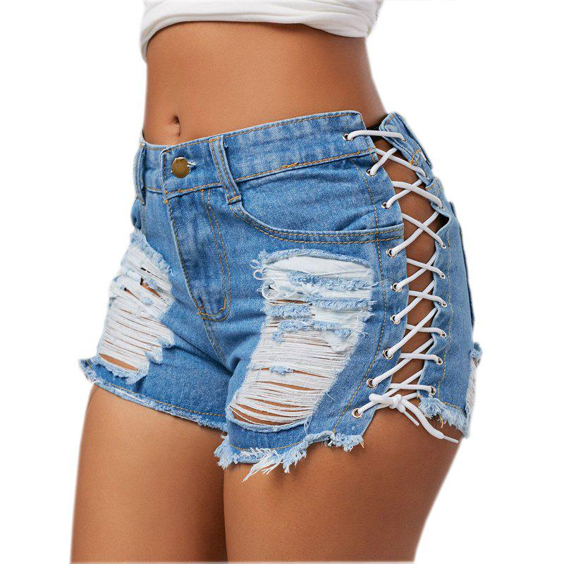 Shorts en denim troué style hot