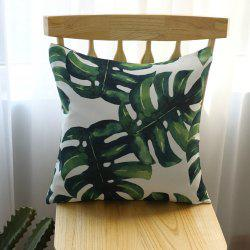 Decorative Pillowcase Fresh Green Plant Leaf Pattern Cushion Cover -