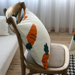 Sofa Cushion Fresh Carrot Pattern Comfortable Decorative Pillowcase -