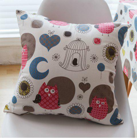 Chic Home Decorative Pillowcase Owl Pattern Supple Sofa Cushion Cover