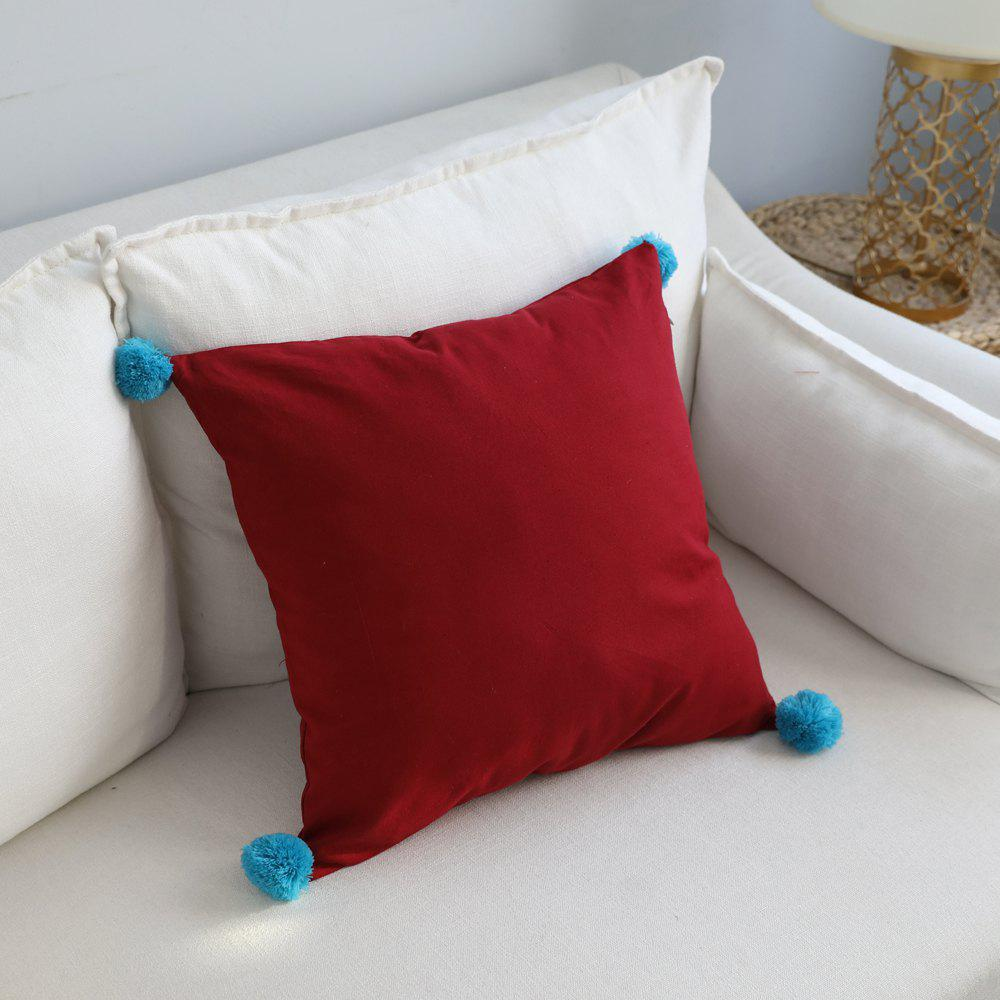 Chic Sofa Cushion Cover Brief Style Solid Square Balls Decor Red Pillowcase
