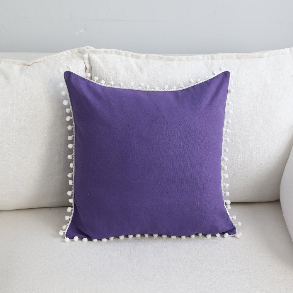 Shop Sofa Cushion Case Solid Brief Style Square Comfortable Decorative Purple Pillowcase