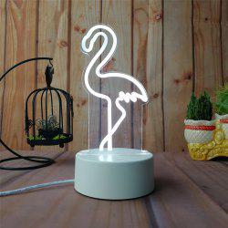 3D Flamingo Small Night Light Plug LED Stereo Bedroom Bedside Lamp -