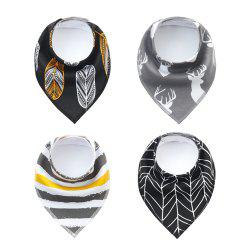 4PCS Baby Bandana Drool Bibs Soft and Absorbent Bib with 100 Percent Organic Cotton (F24) -