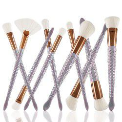 Spiral White Mermaid Makeup Brush 10PCS -
