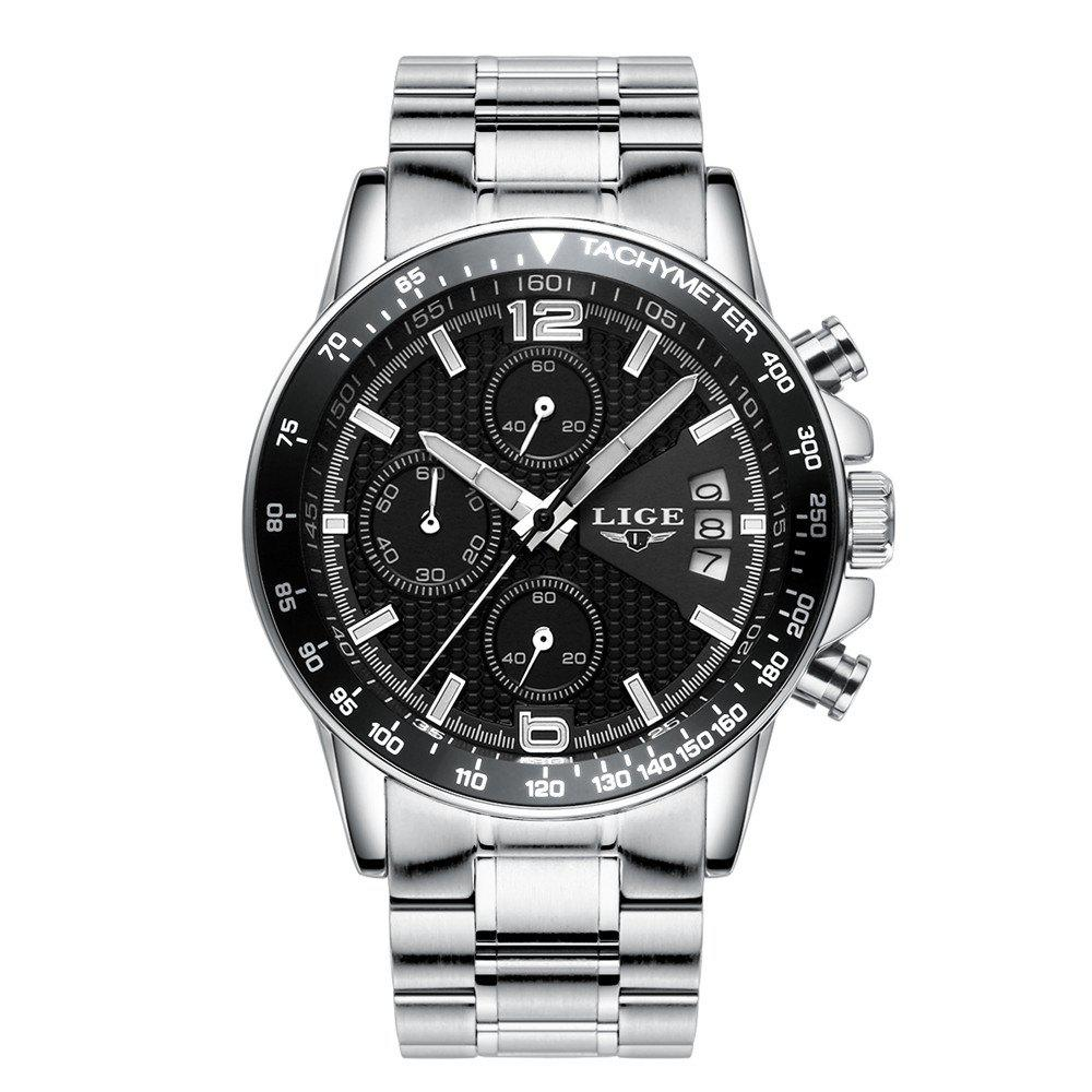 Chic LIGE 0002 4949 Business Fashion Trend Real Small Three-Disk Band Multifunctional Calendar Steel Band Men Waterproof Quar