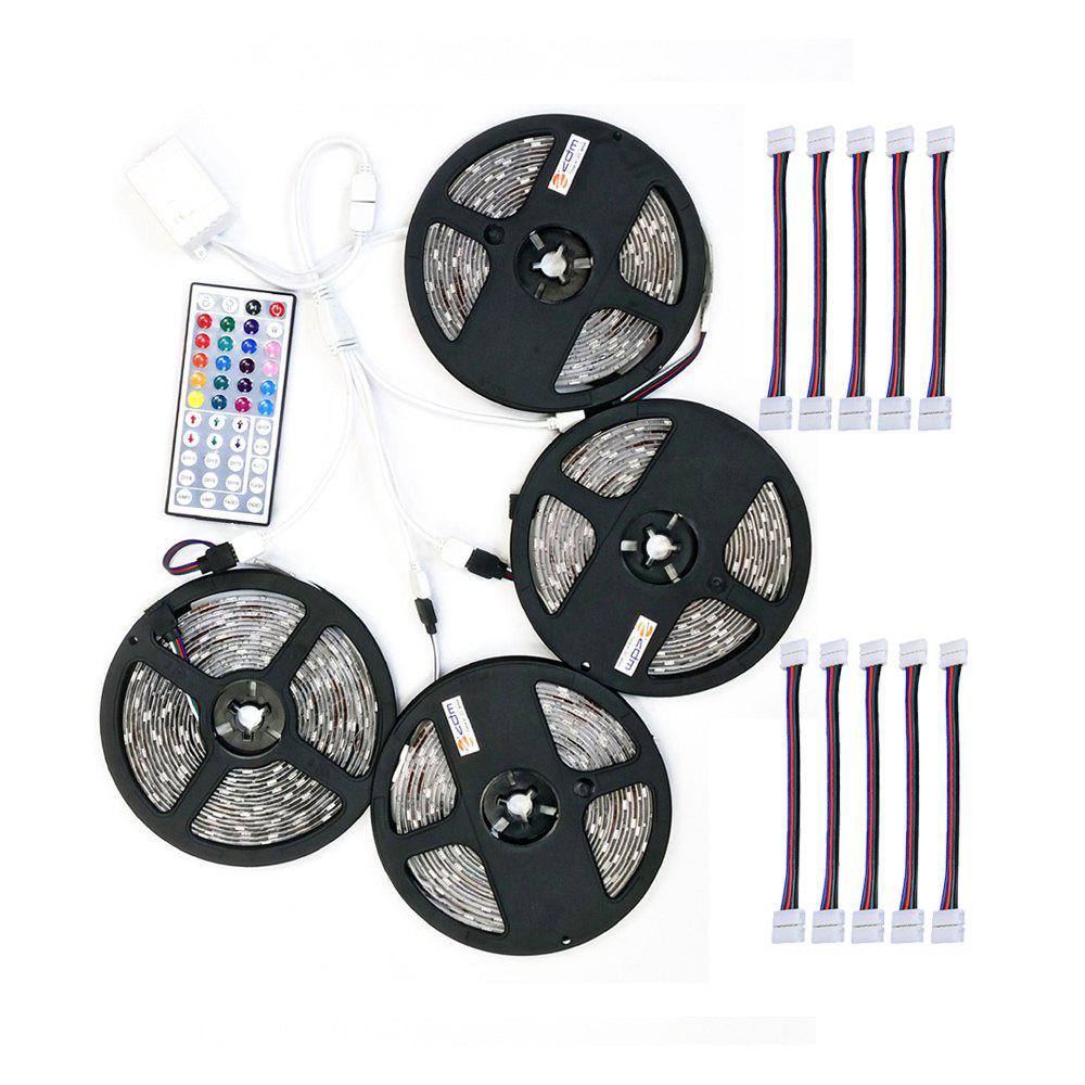 Affordable ZDM 4PCS 5M 150x5050RGB LED Strip Light 44Key IR Controller and  with 10PCS Connecting line DC12V 140W