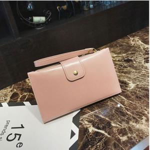 New solid color casual lock large capacity multi-walled clutch women's fashion multi-functional wallet -