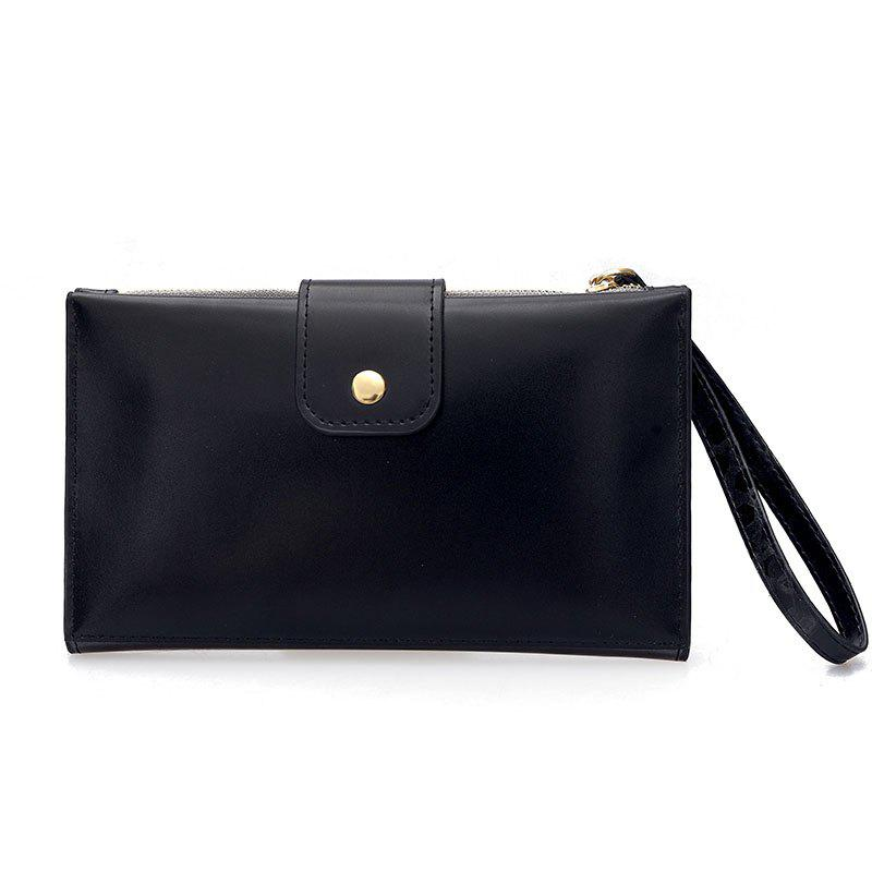 Shop New solid color casual lock large capacity multi-walled clutch women's fashion multi-functional wallet