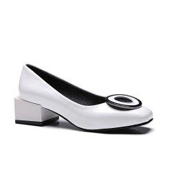 Women's Square Toe Pumps Round Circle Shape Thick Heel Shoes -