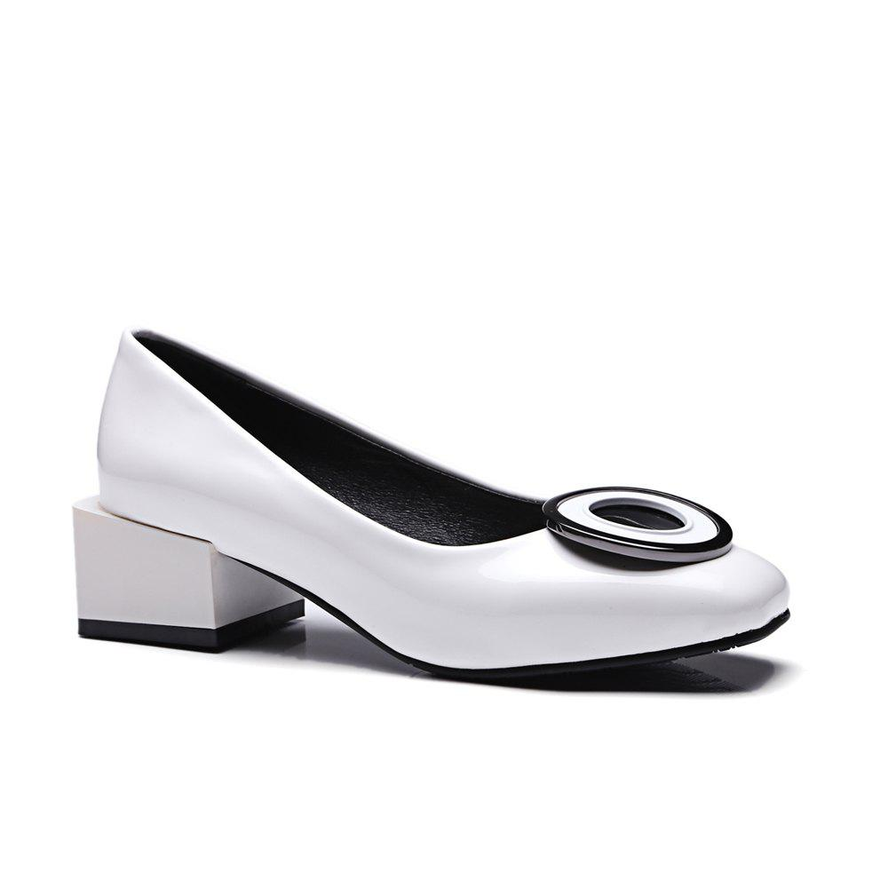 Discount Women's Square Toe Pumps Round Circle Shape Thick Heel Shoes