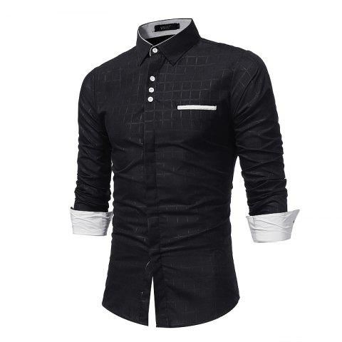 Latest 2018 New Simple Lattice Printed Slim Business Long-Sleeved Shirt