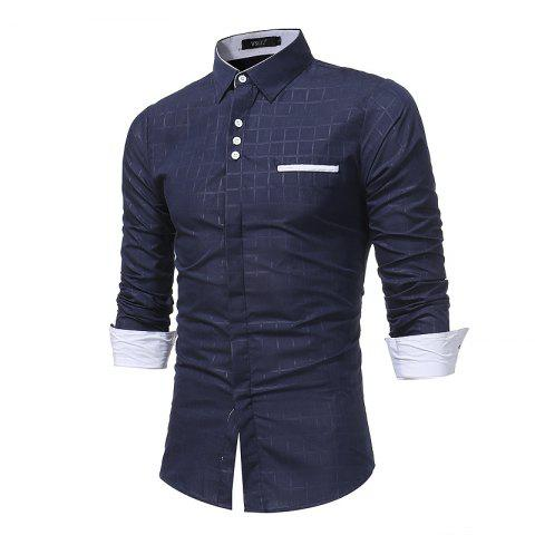 Shops 2018 New Simple Lattice Printed Slim Business Long-Sleeved Shirt
