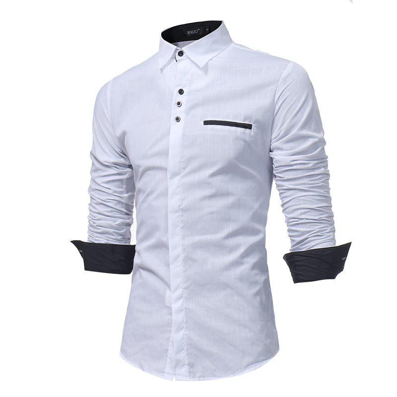 New 2018 New Simple Lattice Printed Slim Business Long-Sleeved Shirt