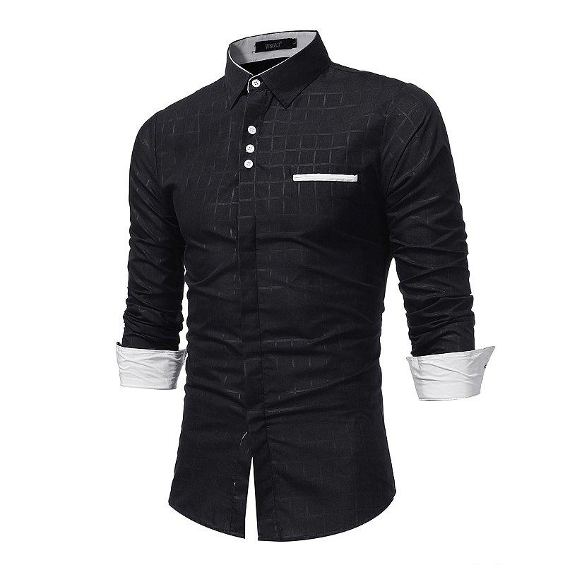 Best 2018 New Simple Lattice Printed Slim Business Long-Sleeved Shirt