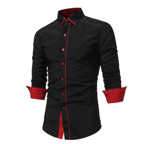 Shops 2018 Autumn and Winter New Fashion Stitching Casual Business Long-Sleeved Large-Size Shirt