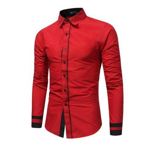 Shop 2018 Autumn and Winter New Fashion Stitching Casual Business Long-Sleeved Large-Size Shirt