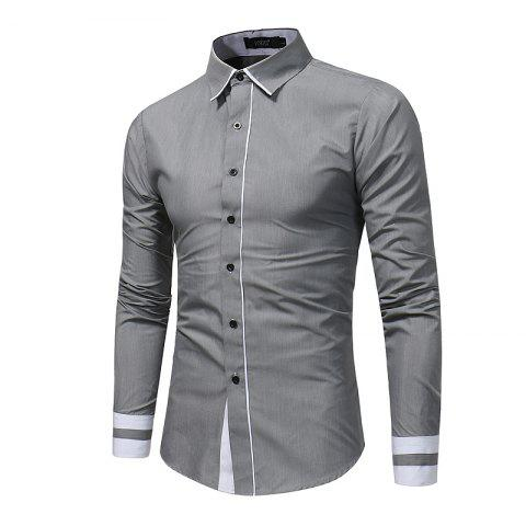 Latest 2018 Autumn and Winter New Fashion Stitching Casual Business Long-Sleeved Large-Size Shirt