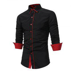 2018 Autumn and Winter New Fashion Stitching Casual Business Long-Sleeved Large-Size Shirt -