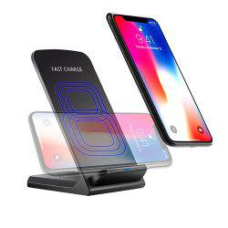 Minismile 10W / 5W Qi / QC Fast Wireless Charger Vertical or Horizontal Stand for IPHONE X / 8 / 8 Plus / Samsung -