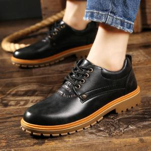 PU Leather Stitching Low Heel Casual Shoes -