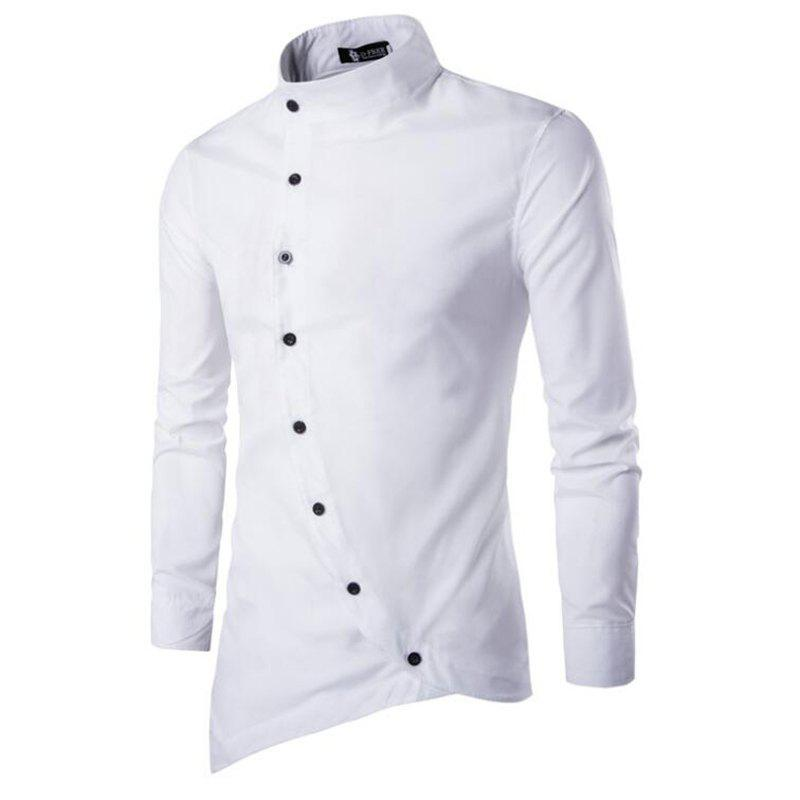 Store Men's Casual Simple Stand Collar Long Sleeves Shirts