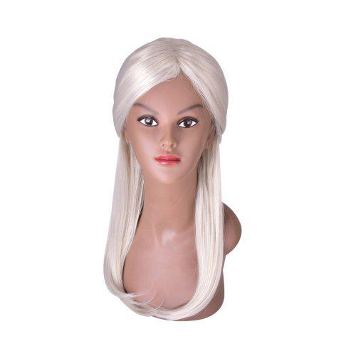 Unique Hairyougo 4091 Silver Gray Long Hair Synthetic Women Straight Wig with Chignon