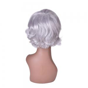 Hairyougo 0129 15cm Silver White High Temperature Fiber Short Curly Wig -