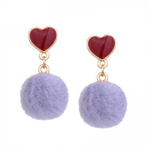 Girl Small Heart-shaped Spherical Short Personality Earrings -
