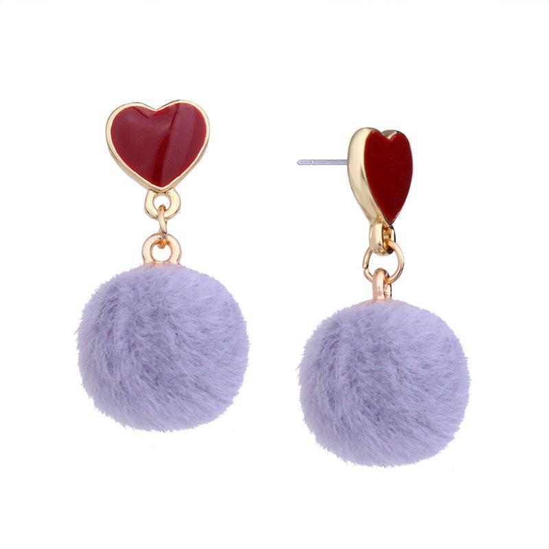 Trendy Girl Small Heart-shaped Spherical Short Personality Earrings