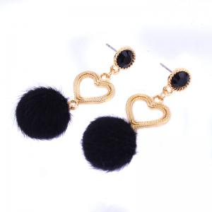 Simple Personality Heart Rhinestone Earrings -