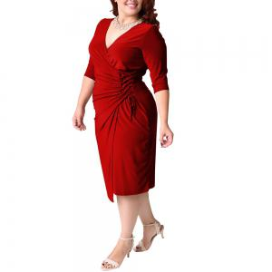 Women's Plus Size V Neck Solid Color Bandage Long Sleeve Midi Dress -