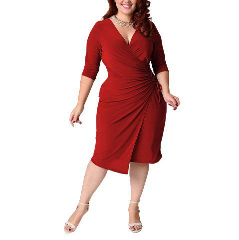 Unique Women's Plus Size V Neck Solid Color Bandage Long Sleeve Midi Dress