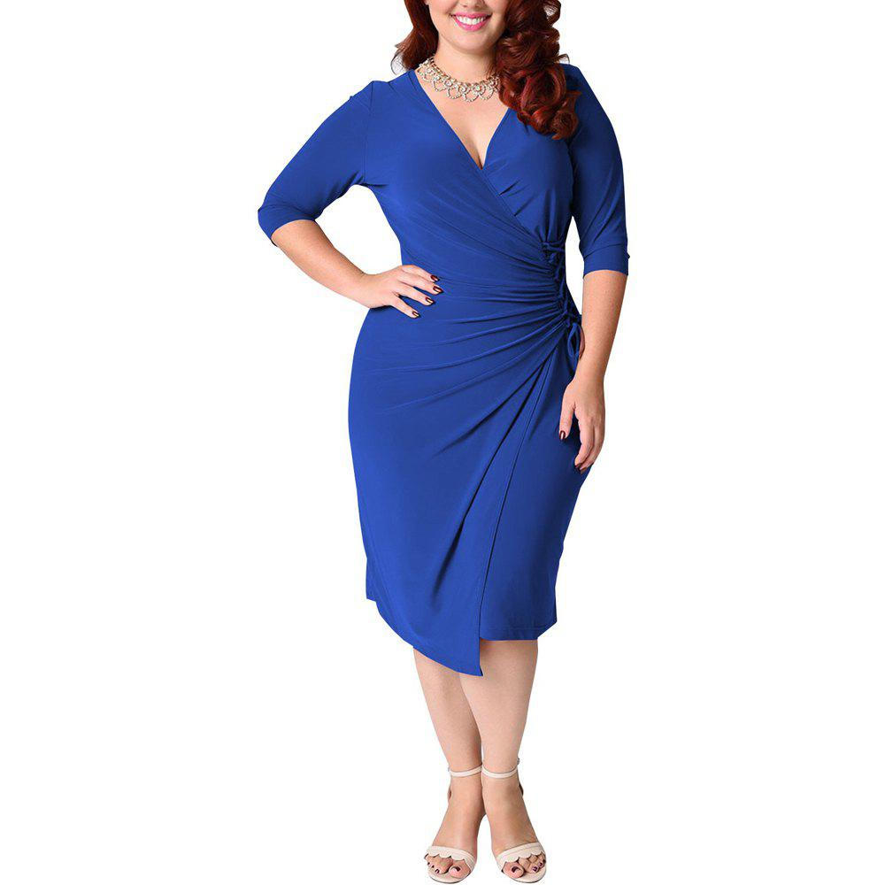 Affordable Women's Plus Size V Neck Solid Color Bandage Long Sleeve Midi Dress