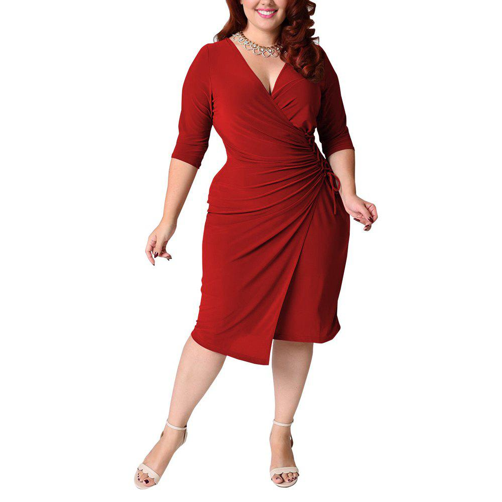 Outfits Women's Plus Size V Neck Solid Color Bandage Long Sleeve Midi Dress