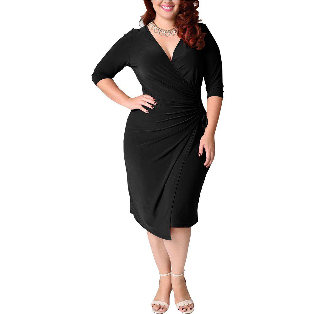 Store Women's Plus Size V Neck Solid Color Bandage Long Sleeve Midi Dress