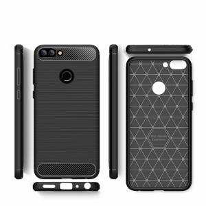 Cover Case for Huawei Chang Xiang 7S Shockproof Carbon Fiber TPU Drawing Material Phone -