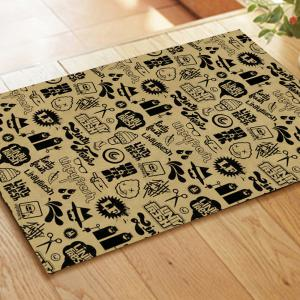 Black Cartoon Element Blending Carpet Mats -