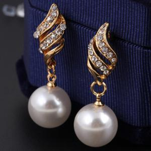 Hot Style Lingling Pearl Earrings Necklace Set with Spiral Jewelry Korean Edition Simple Wind Accessories Suit -