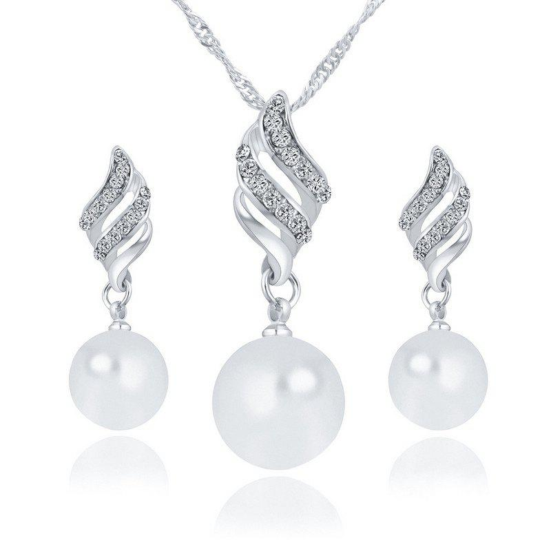 Chic Hot Style Lingling Pearl Earrings Necklace Set with Spiral Jewelry Korean Edition Simple Wind Accessories Suit