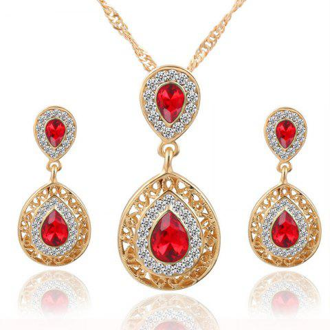 Outfits European and American Sales of New Ear Nail Necklace Set with Crystal Earrings Drop Pendant Triple Piece
