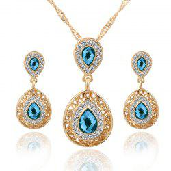 European and American Sales of New Ear Nail Necklace Set with Crystal Earrings Drop Pendant Triple Piece -