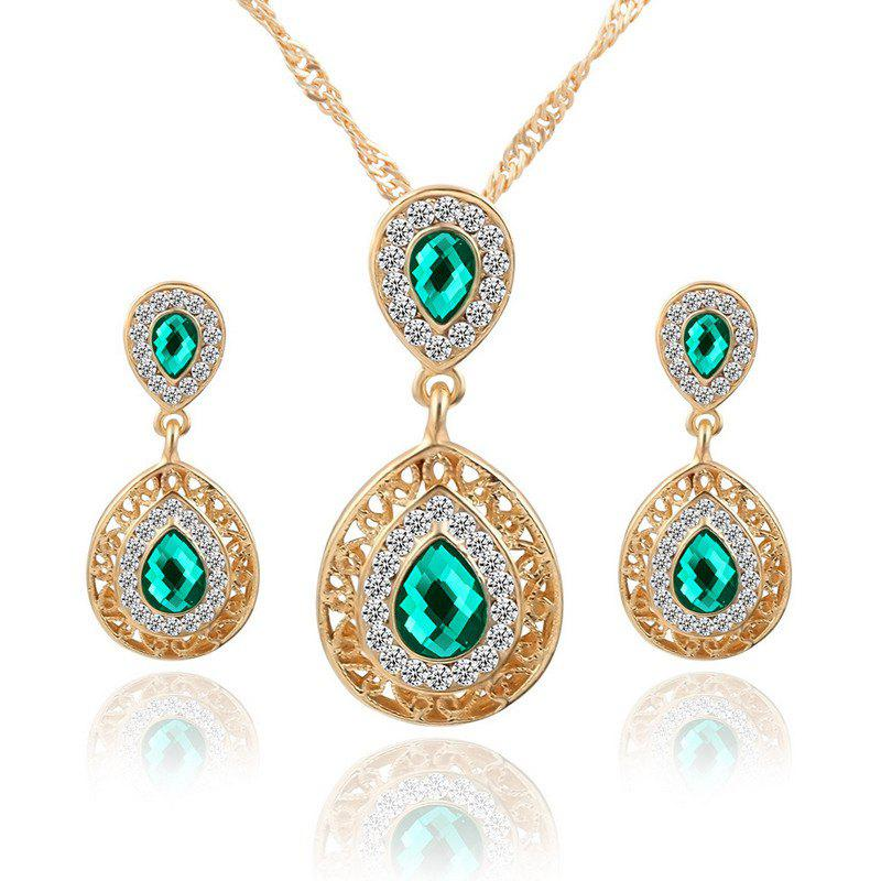 Latest European and American Sales of New Ear Nail Necklace Set with Crystal Earrings Drop Pendant Triple Piece