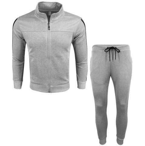 Online Men's Wear Spring and Autumn Wear and Fashion Leisure Sports Outdoor Fitness Stand Long Sleeve Coat Trousers Two Suits