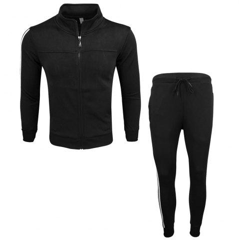 Buy Men's Wear Spring and Autumn Wear and Fashion Leisure Sports Outdoor Fitness Stand Long Sleeve Coat Trousers Two Suits