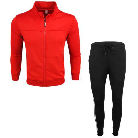 Trendy Men's Wear Spring and Autumn Wear and Fashion Leisure Sports Outdoor Fitness Stand Long Sleeve Coat Trousers Two Suits