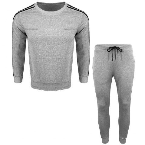 Latest Menswear Spring and Autumn Pure Color Fashion Leisure Sports Outdoor Fitness Long Sleeve Health Suit Trousers Two Suits