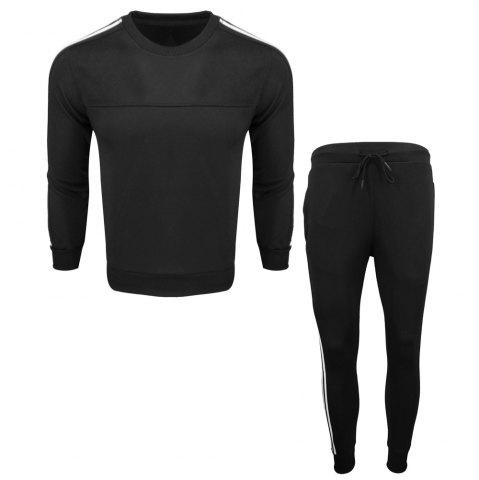Outfits Menswear Spring and Autumn Pure Color Fashion Leisure Sports Outdoor Fitness Long Sleeve Health Suit Trousers Two Suits